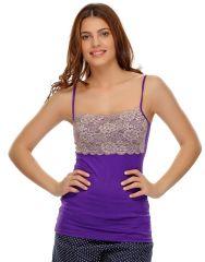 Clovia Cotton Blended Soft Cotton Lacy Camisole (Product Code - Ns0487P15 )