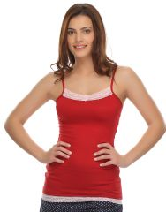 Clovia Cotton Blended Soft Cotton Lacy Camisole In Maroon (Product Code - Ns0488P09 )