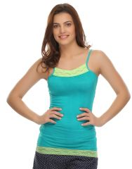 Clovia Cotton Blended Soft Cotton Lacy Camisole In Sea Green (Product Code - Ns0488P11 )