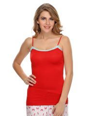 Clovia Soft Cotton Lacy Camisole In Red  Ns0489P04
