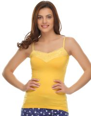 Clovia Cotton Blended Soft Cotton Lacy Camisole In Yellow (Product Code - Ns0490P02 )