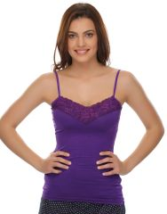 Clovia Cotton Blended Soft Cotton Lacy Camisole In Purple (Product Code - Ns0490P15 )