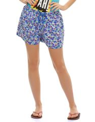 Clovia Blended Cotton Chic Printed Shorts In Blue (Product Code - Ns0504P08 )