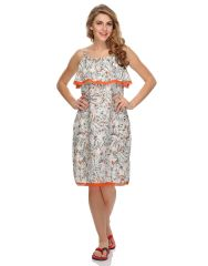 Clovia Crepe Ruffled Neck Floral Nightdress (Product Code - Ns0514P11 )