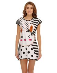 Clovia Cotton Blended Cutie Pie Printed Nightdress (Product Code - Ns0526P18D )