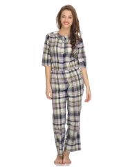 Clovia Women's Clothing - Clovia Cottoswool Funky Long Jumpsuit In Plaids Ns0535P17 (Product Code - Ns0535P17 )
