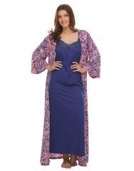 Clovia Printed Robe & Nighty Set  Ns0546P22
