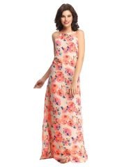Clovia Long Floral Nightdress In Orange  - (Product Code-NS0607P16)