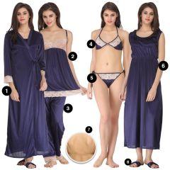 Clovia Women's Clothing - 8 PC SATIN NIGHTWEAR SET - NAVY