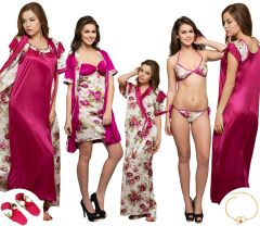 Clovia 6 Pcs Wine Color Nighty Set With Robe