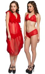 Clovia Red Sheer Baby Doll With Free Lace Bra-brief