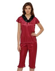 Clovia Satin & Lace Night Suit In Maroon  - (Product Code - NSH007P09)