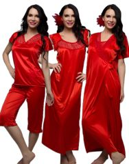 Clovia 4 Pcs Satin Nightwear In Red With Free Brief