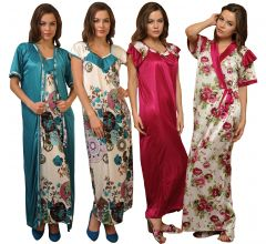 4 Pcs Set Of Premium Satin Nightwear