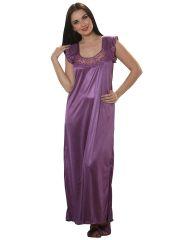 Clovia Women's Clothing - Satin Long Nighty in Purple By Cloe