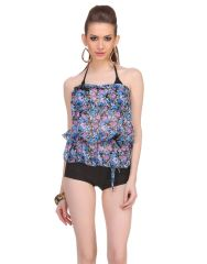 Clovia 3 Piece Set Of Polyamide Bra Boyshort With Georgette Cover Ups In Blue  -(Product Code- SM0033P08)