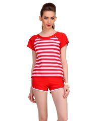 Clovia Polyamide Cute Beach Wear In Red Stripes  -(Product Code- SM0038P04)