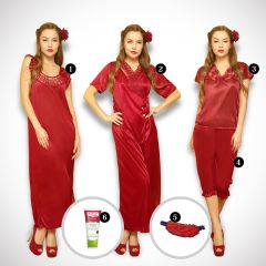 Clovia 6 Pcs Freesize Stretchable Satin Nightwear In Wine Color NSM236G31