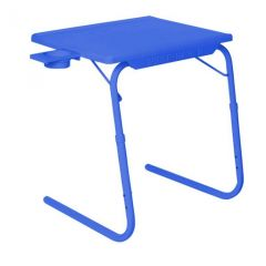 Dark Blue Table Mat II 2 Folding Portable Adjustable Table With Cup Holder