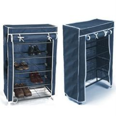 Portable Folding 4 Layer Tier Shoe Rack With Wardrobe Cover Durable Js