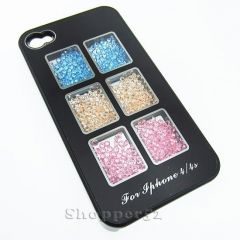 Black Designer With Diamond Back Hard Shell Cover Case for iPhone 4