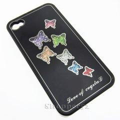 Designer With Diamond Back Hard Shell Cover Case for iPhone 4 Black