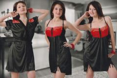Black and Red Satin 2 Pcs Comfortable to wear 3/4 Nighty