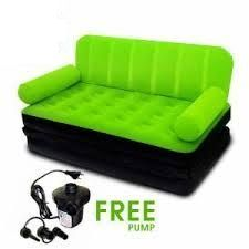 Velvet Inflatable Bestway Sofa Cum Bed Air Bed Couch Green Color