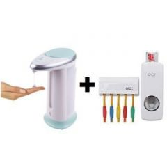 Automatic Touchless Soap Liquid Dispenser Toothpaste Dispenser Detachable Toothbrush Holder-3qty