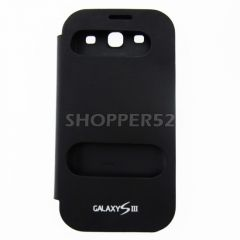 Black Samsung Galaxy S3 I9300 Table Talk Leather Flip Cover Back Case