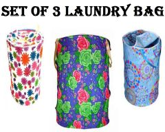 Set of 3 Multicolor Attractive Round Shape Foldable Laundry Bag - ST3CNJHU
