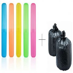 Buy 5 Pcs Toothbrush Case Holder Cover Box Tube With Free Disposables Garbage Bag 120 Pcs - TBOX5GBR120