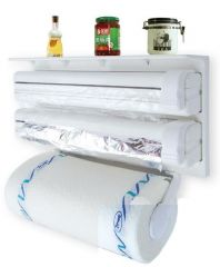 Triple Paper Dispenser for cling film wrap aluminium foil and kitchen roll