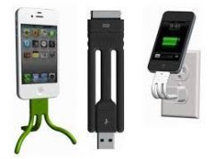 Twig Ultra Portable Cable Charger Mobile Stand Tripod For iPhone 4 4s Ipad Black