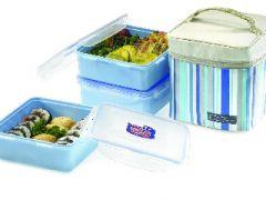 Kitchen Utilities, Appliances - Lock&Lock 3 Pc Lunch Set With Blue Bag