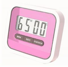 Gadget Hero's Compact Lab & Kitchen Timer With Alarm, Large Digital LCD Display. With Table Stand & Fridge Magnet ( Pink )