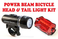 Gadget Hero's Power Beam LED Head & Tail Light Kit For Bike Bicycle Cycle