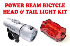 Shop or Gift Gadget Hero's Power Beam LED Head & Tail Light Kit For Bike Bicycle Cycle Online.