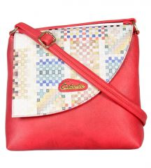 Esbeda Red Color Graphic Print Pu Synthetic Women's Slingbag