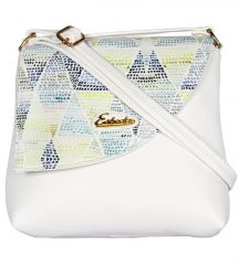 Esbeda White Color Graphic Print Pu Synthetic Women's Slingbag