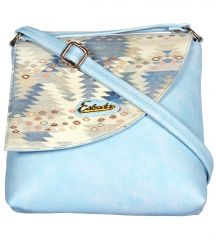 Esbeda Light Blue Color Graphic Print Pu Synthetic Women's Slingbag