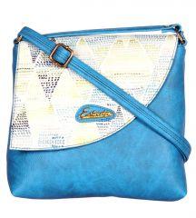 Esbeda Blue Color Graphic Print Pu Synthetic Women's Slingbag