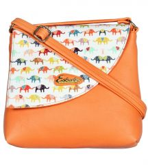 Esbeda Orange Color Graphic Print Pu Synthetic Women's Slingbag