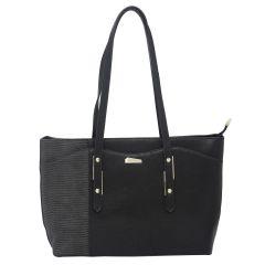 ESBEDA Black Color Pu Synthetic Handbag For Women's Black (Product Code - 1607)   Black
