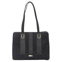 ESBEDA Black Color Pu Synthetic Handbag For Women's Black (Product Code - 1613)   Black