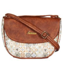 ESBEDA Dark Brown Color Graphic Print Sling Bag For Womens_1657