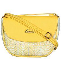 ESBEDA Yellow Color Graphic Print Sling Bag For Womens_1660