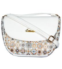 ESBEDA White Color Graphic Print Sling Bag For Womens_1662