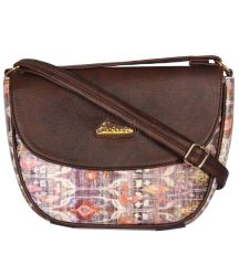 ESBEDA Tan Color Graphic Print Sling Bag For Womens_1664