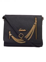 ESBEDA Black Color Solid Pu Synthetic Fabric Slingbag For Women(Code-2456)